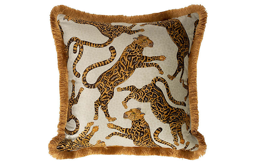 Cheetah Kings 24x24 Pillow, Stone Velvet
