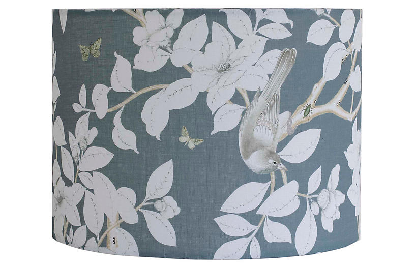 Chinoiserie Lampshade, Blue Linen