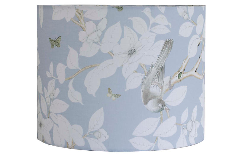 Chinoiserie Lampshade, Pale Blue Linen