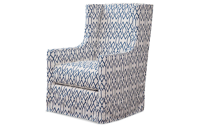 Charlie Swivel Chair, Blue/White