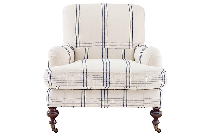 Chatsworth Armchair, Blue/White