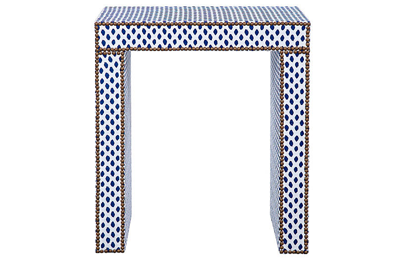 Havana Side Table, Blue/White