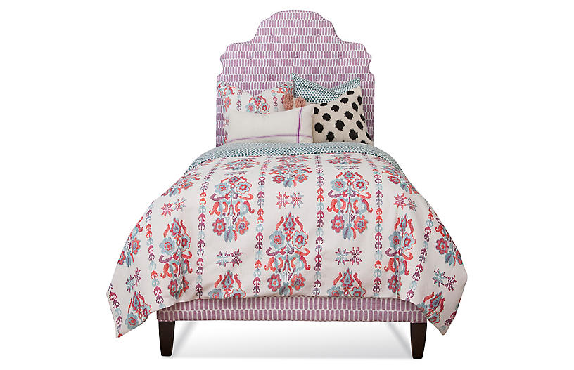 Scroll Tufted Bed, Lilac/White