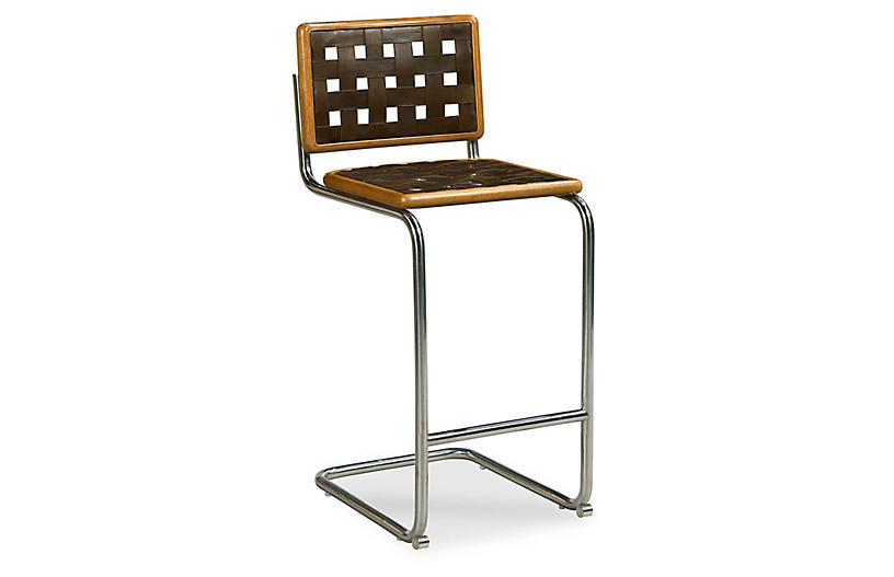 Revival Leather Counter Stool, Polished Nickel/Brown