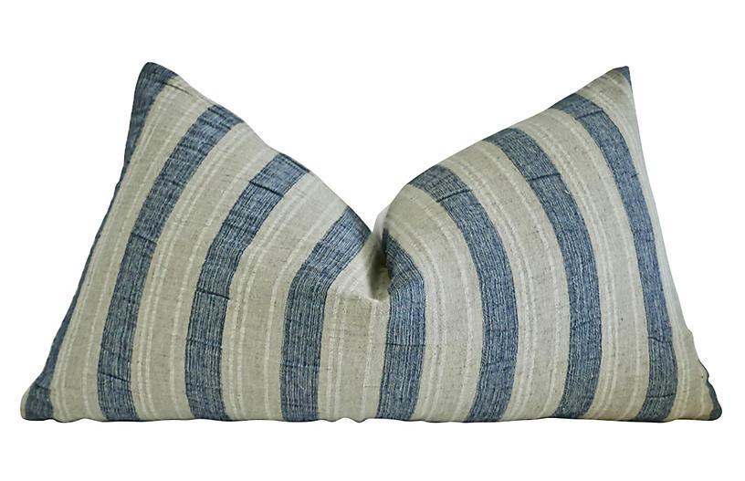 Porto 25x16 Lumbar Pillow, Blue/Sand