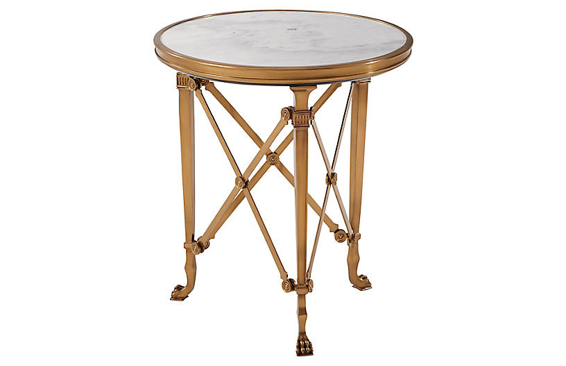 Cannes Gueridon Accent Table, Brass/White