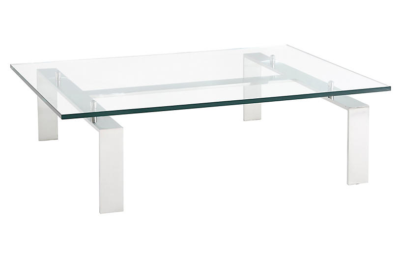 Pall Mall Cocktail Table; Silver/Clear