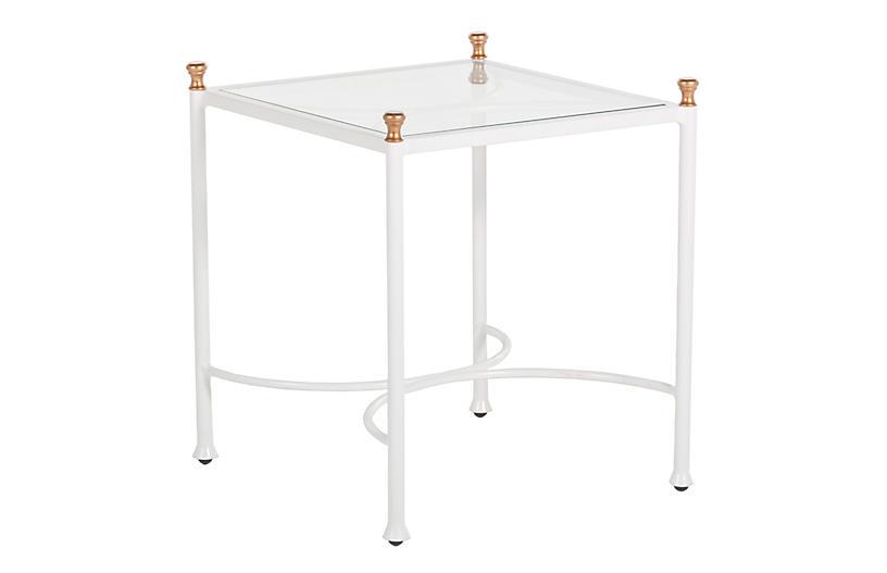 Frances Side Table, White/Antique Gold