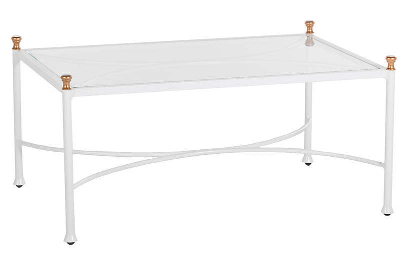 Frances Coffee Table, White/Antique Gold