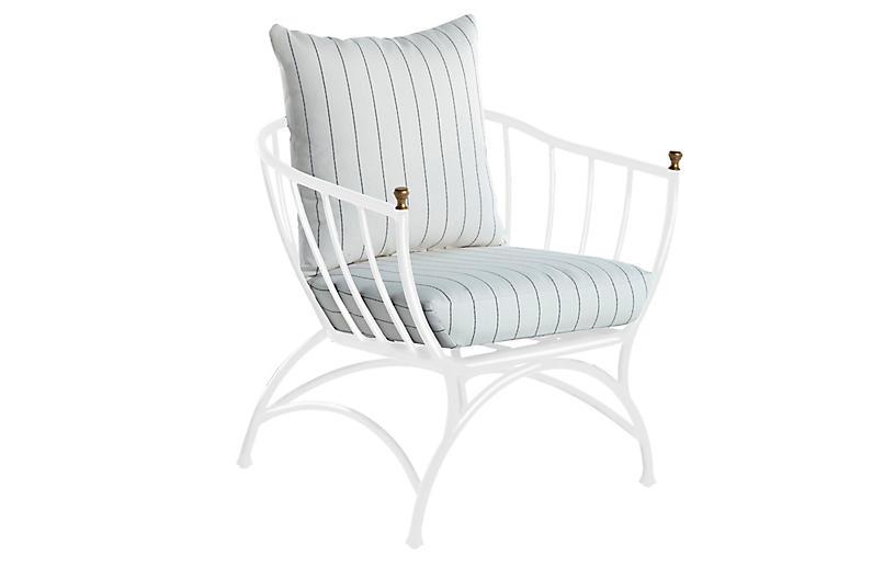 Frances Accent Chair, White Stripe