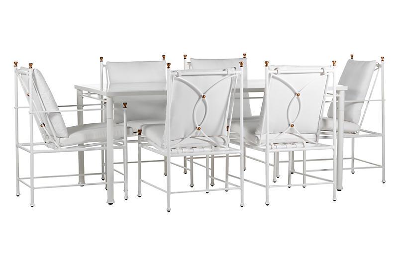 Frances 7-Pc White 7-Pc Dining Set, White