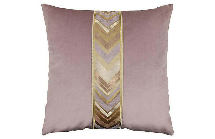Addison 22x22 Pillow, Orchid/Brass Velvet