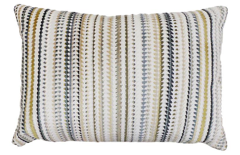 Tristan 14x20 Lumbar Pillow, Blue/Green Velvet