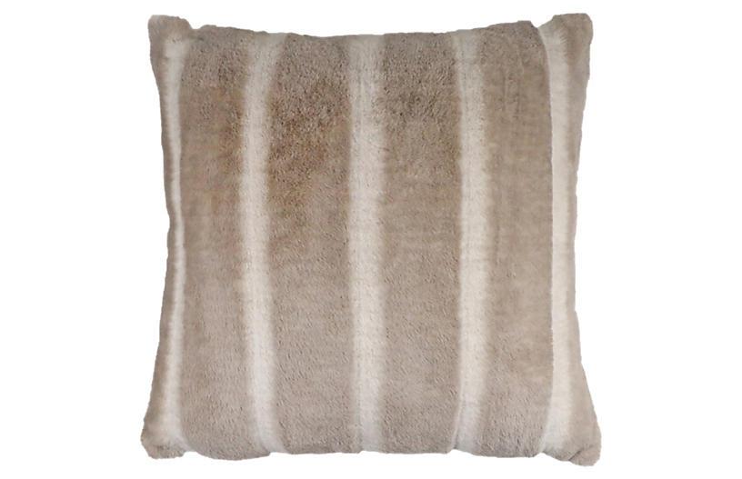 Boris Faux Fur Pillow, Taupe