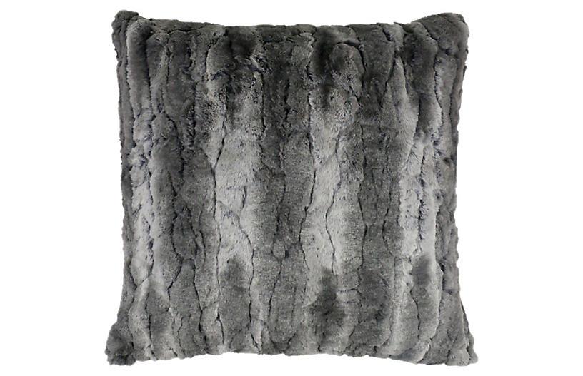 Ernie Faux Fur Pillow, Gray