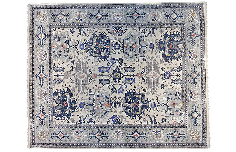 12'x15' Sari Michelle Rug, Ivory/Light Blue