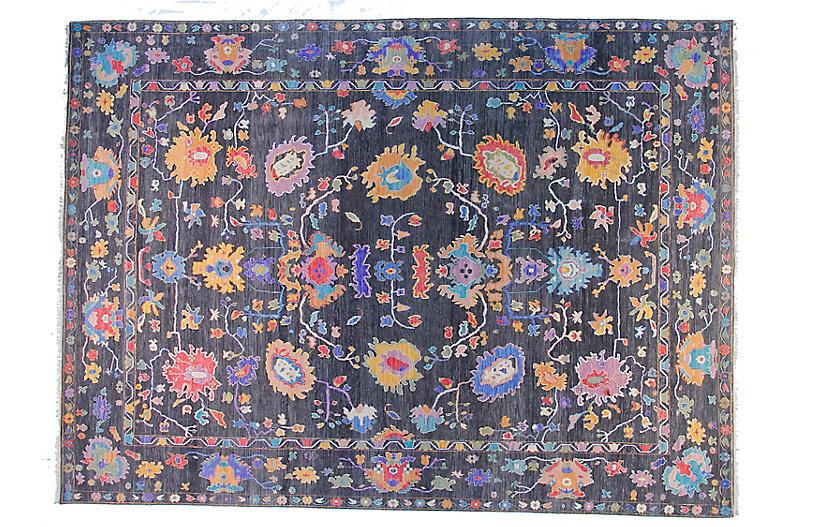 9'x12' Sari Oushak Mel Rug, Charcoal