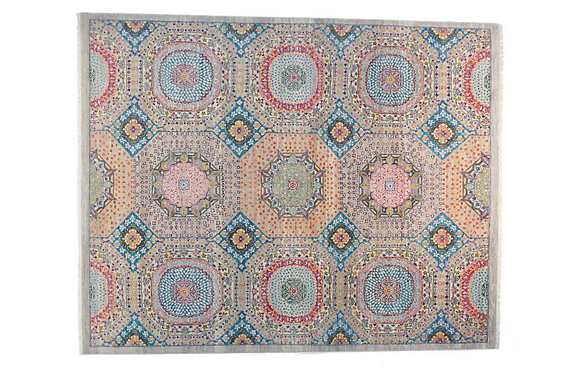 9'x12' Sari Mamluk Rug, Silver Blue