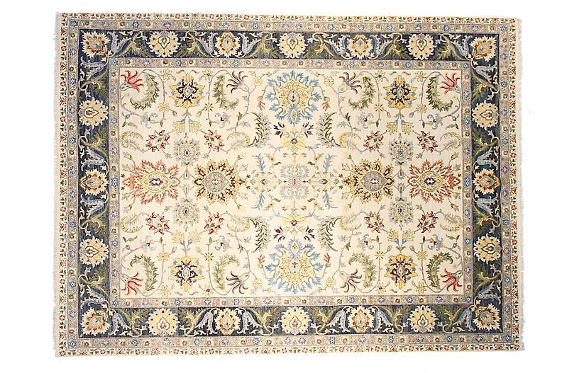 12'x15' Sari Oushak Adam Rug, Ivory/Navy Blue