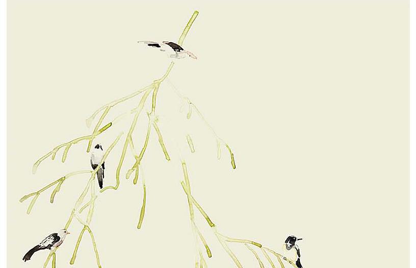 Mary H. Case Lg. Bird Branches Wallpaper, Vanilla