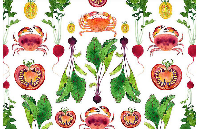 Gabby Malpas Lg. Crabs & Veggies Wallpaper, White