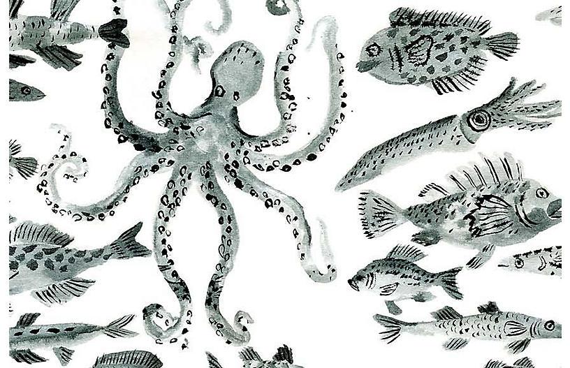 Vikki Chu Lg. Fish Wallpaper, White