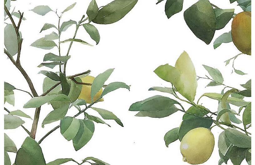 Helen Strom Lg. Lemons Wallpaper, White