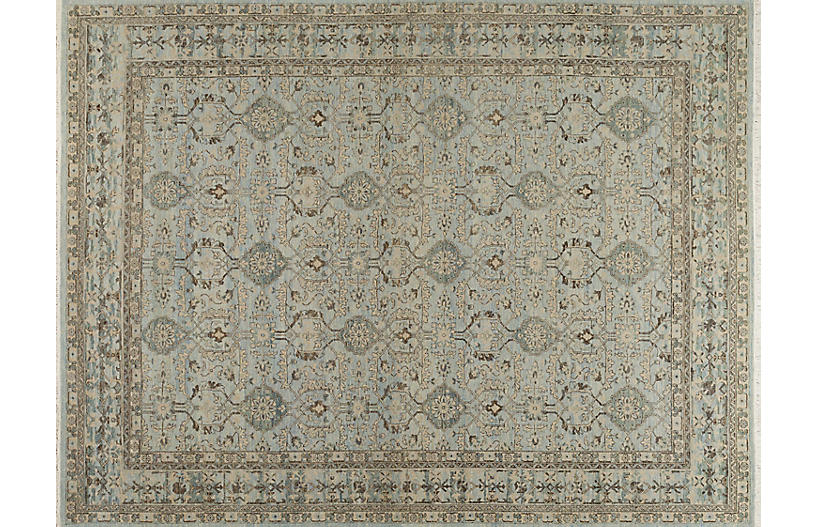 Mazin Hand-Knotted Rug, Silver Strand