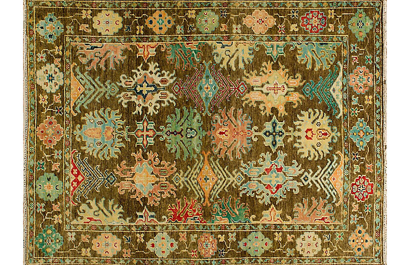 Amadis Hand-Knotted Rug, Charcoal Brown