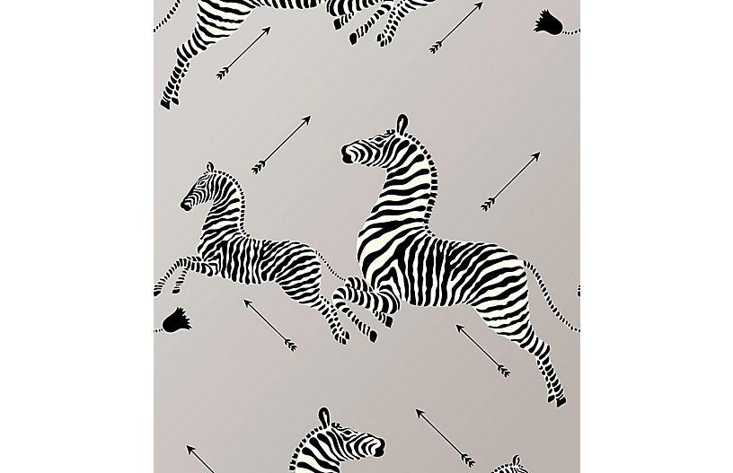Zebras Wallpaper, Silver