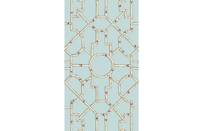 Baldwin Bamboo Wallpaper, Cream/Red/Aqua