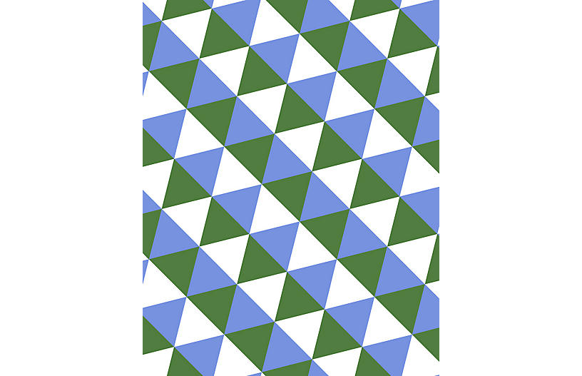 Clare V Optic Triangle Wallpaper, Bluebell & Olive