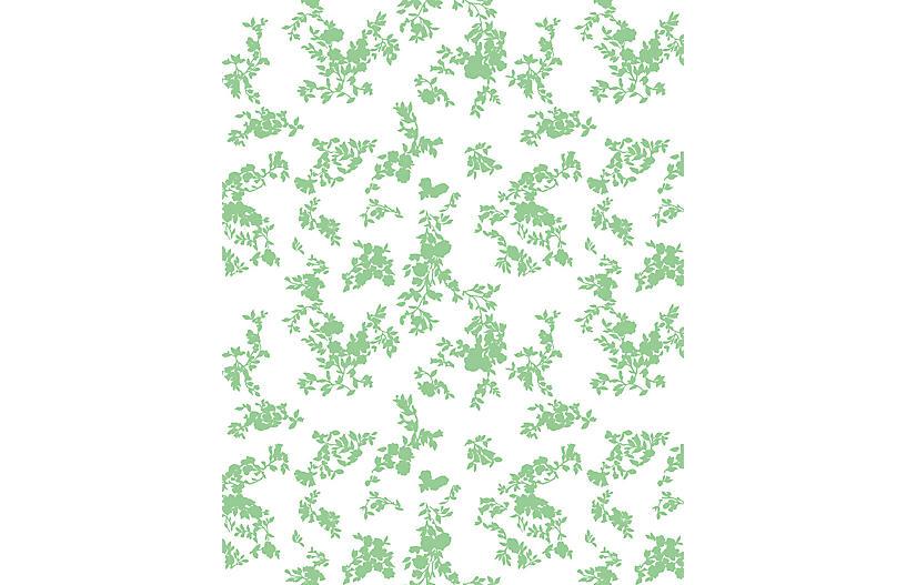 Clare V Francoise Floral Wallpaper, Green On White