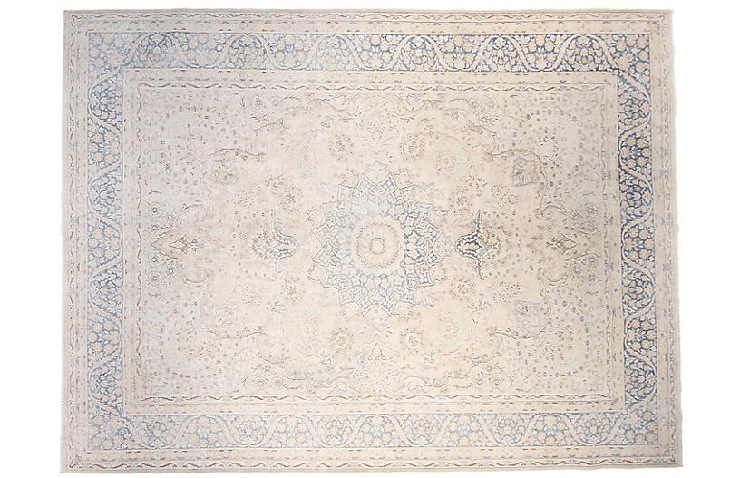 10'x13' Maz Rug, Ivory/Blue