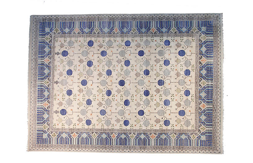 12'x15' Sari Wool Khotan Rug, Ivory/Blue
