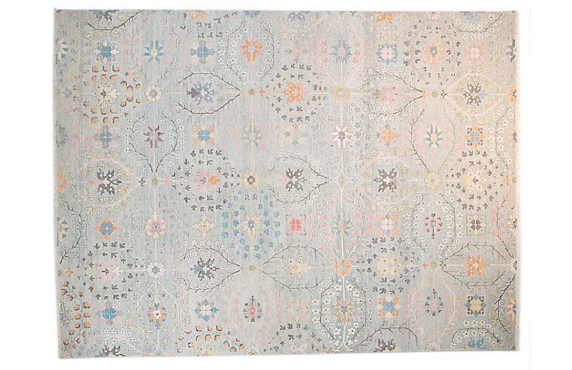 8'x10' Sari Wool Grant Rug, Pale Aqua