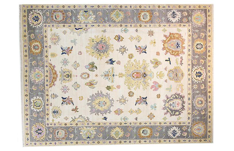 9'x12' Sari Wool Lisa Rug, Ivory/Gray