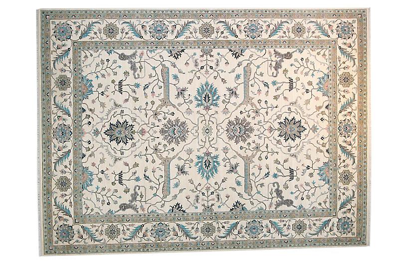 9'x12' Sari Wool Caleb Rug, Ivory/Ivory