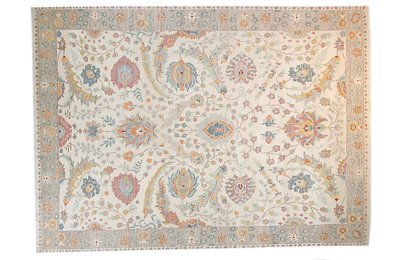 9'x12' Sari Wool Sprio Rug, Ivory/Twig