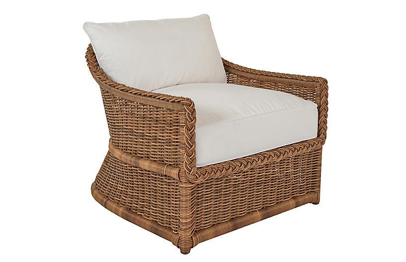 Emilia Braided Lounge Chair, White