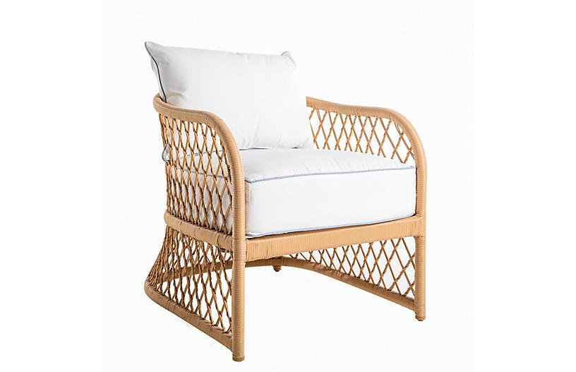 Carmel Woven Lounge Chair, White/Chambray