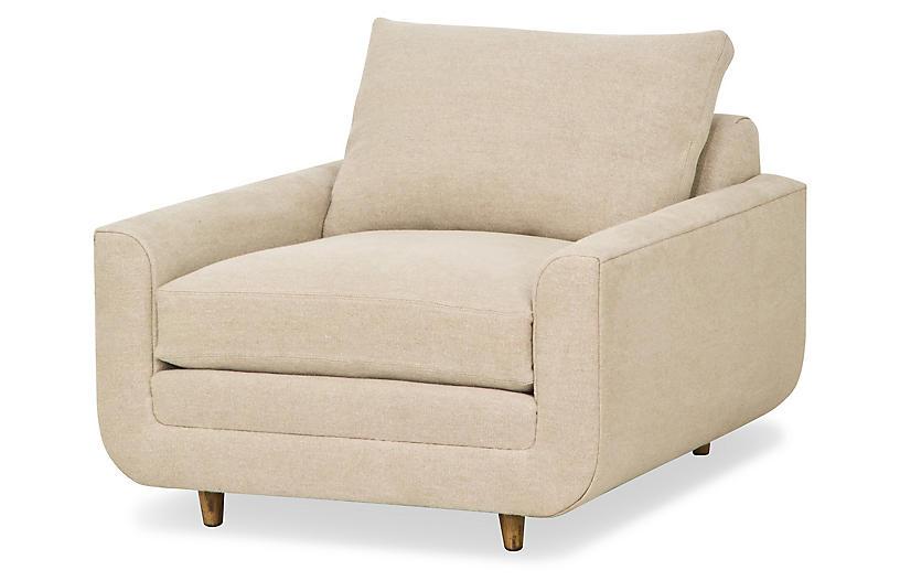 Architect Chair, Tan Performance Linen