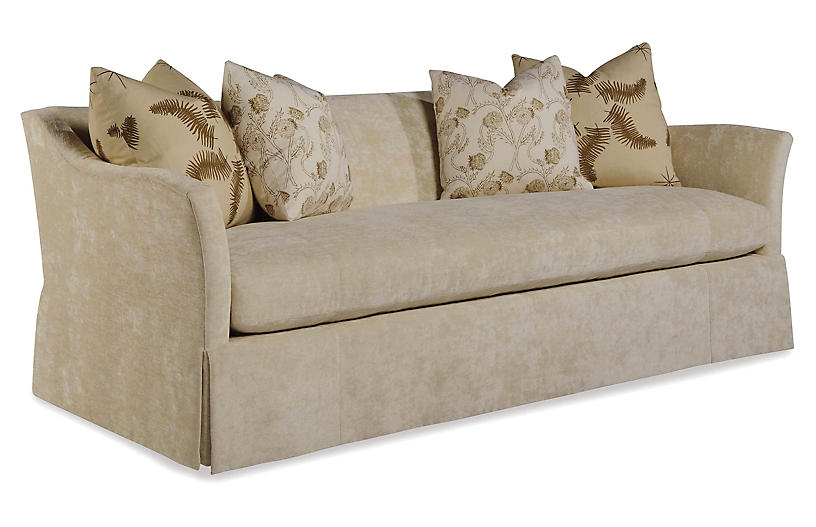 Evolution Waterfall Sofa, Off-White Velvet