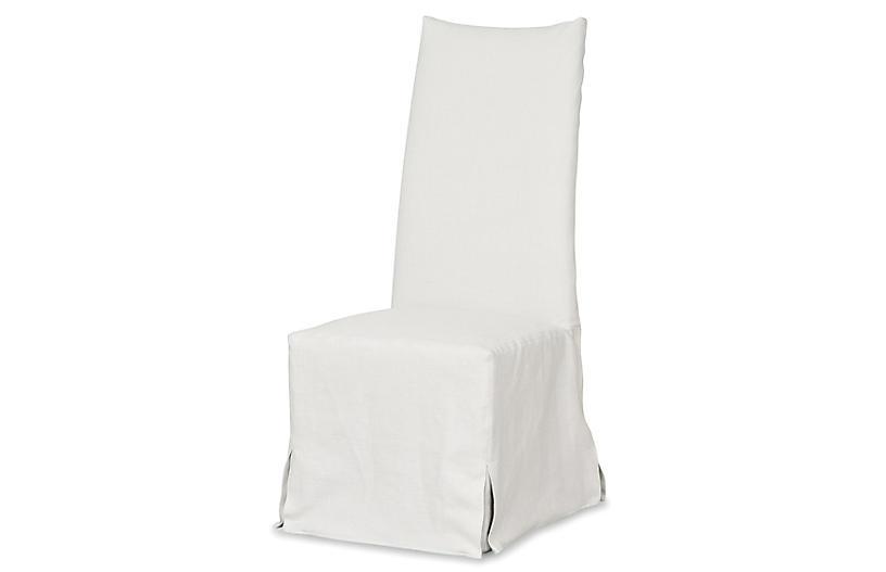 Linger Slipcovered Dining Chair, White