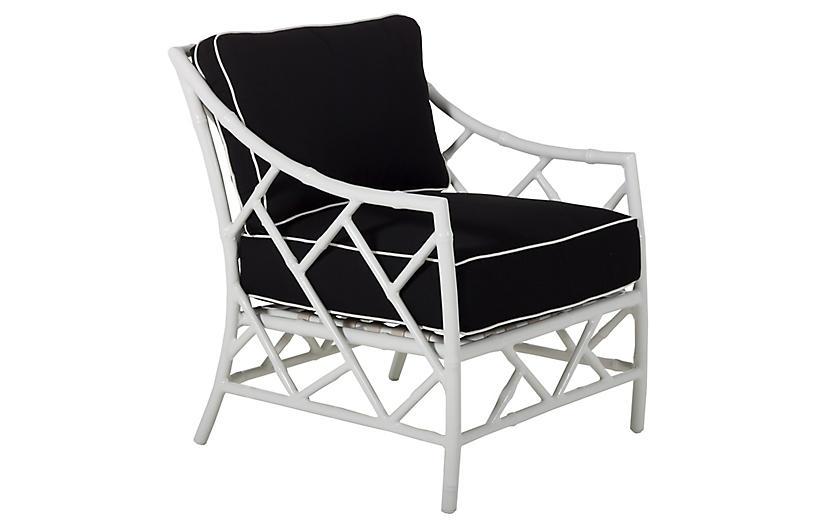 Kit Lounge Chair, White/Black