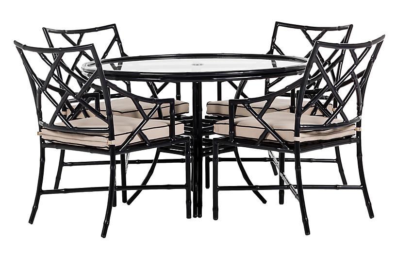 Kit 5-Pc Dining Set, Black/Arbor Pebble