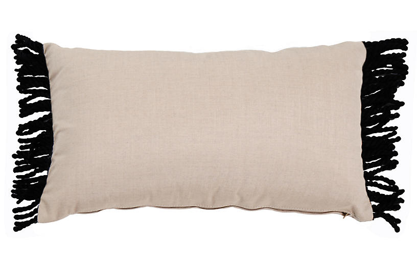 Kit 14x24 Lumbar Outdoor Pillow, Pebble/Black