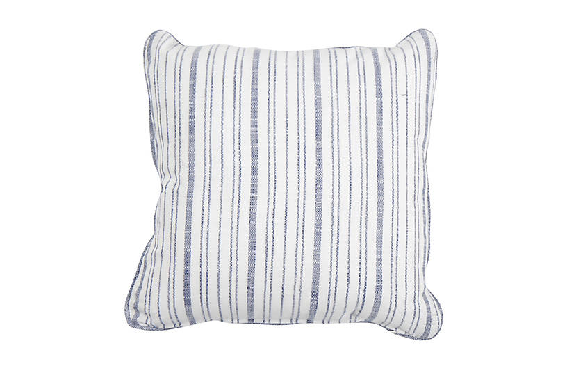 Emilia Outdoor Pillow, Indigo Stripe