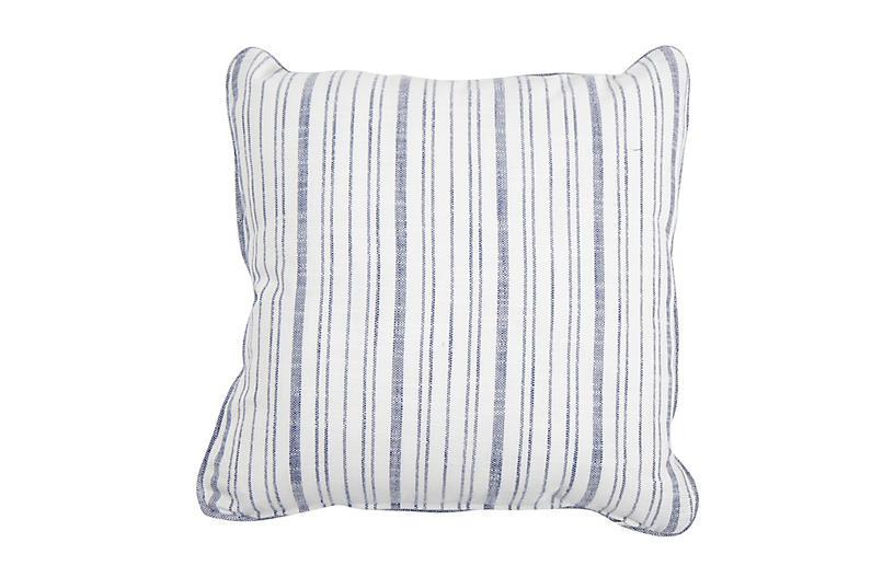 Emilia Outdoor Pillow, Indigo Stripe