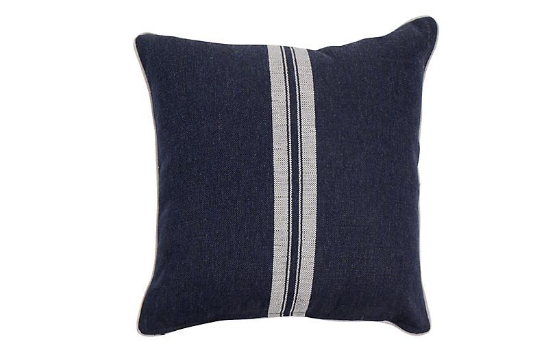 Emilia Outdoor Pillow, Navy Stripe